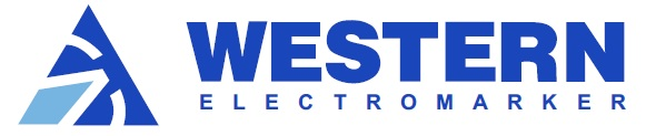 Logo for Western Electromarker with text